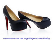 Christian Louboutin Daffodile 160mm Sheep Skin Platform Pumps Black ON