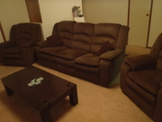 3 Seater Choc Couch and 2 recliners. Extremely good condition