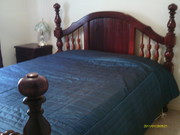 Solid wood 4 poster Queen Bed and chest of draws