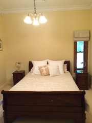 Queen Size Mahogany Sleigh Double Bed & 2 Bed size tables